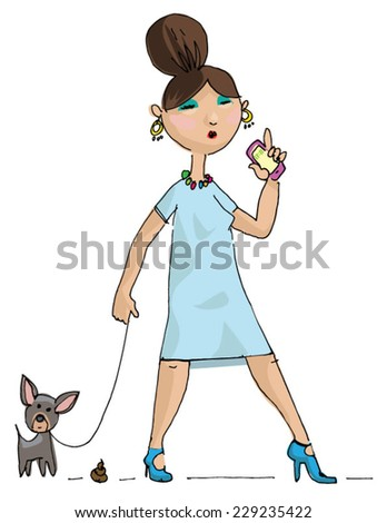 glamour girl with little dog - cartoon - stock vector