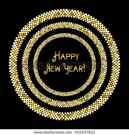 Glamour golden glitter frame for your decoration, can be used as Happy New Year or Merry Christmas banner, gift certificate or vip card, bachelorette or other night party invitation etc - stock vector