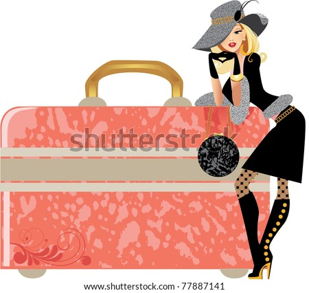 glamour lady and beauty case - stock vector
