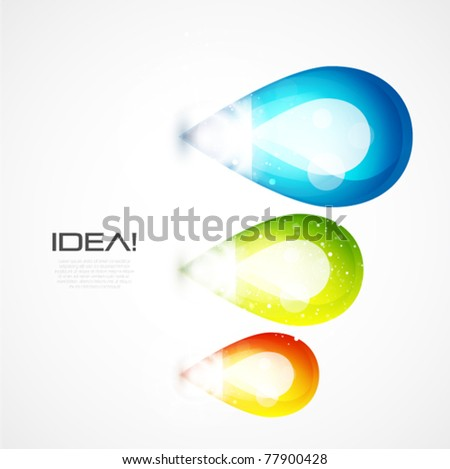 Glass abstract shapes, light bulb idea concept. Eps10 vector illustration - stock vector