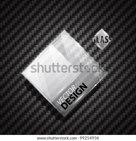 Glass ad square banner on carbon fiber - stock vector