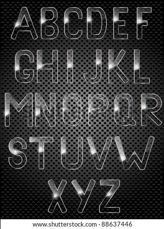 Glass alphabet. Vector illustration. - stock vector