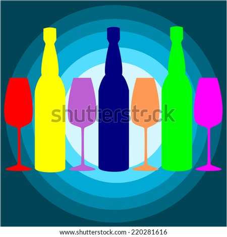 glass and bottle color.vector - stock vector
