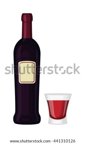 Glass and bottle of wine drink alcohol beverage winery cabernet design vector illustration. Wine bottle and glass elegance product, red wine bottle and bar glass. Merlot product champagne brand. - stock vector