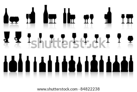 glass and bottle set isolated on white, vector  - stock vector