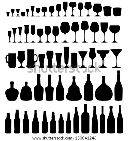 Glass and bottle vector silhouette collection. Set of different drinks and bottles isolated on white  background. - stock vector