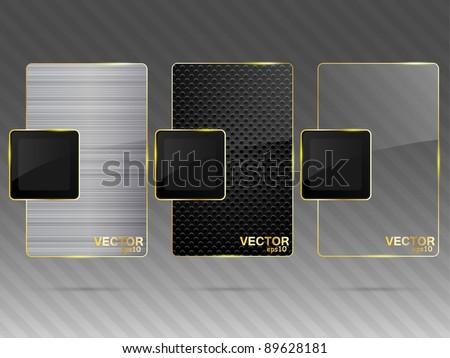 Glass and metal framework set. Vector illustration. - stock vector