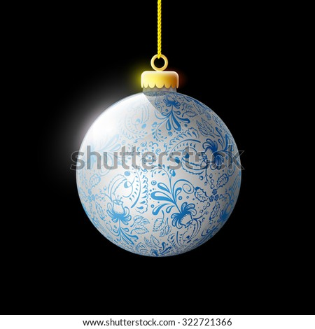 Glass ball with ornament. Decoration Christmas tree. Isolated on a black background. Vector Image Stock. - stock vector
