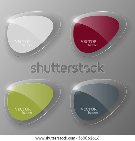 Glass banner set. Vector illustration. - stock vector