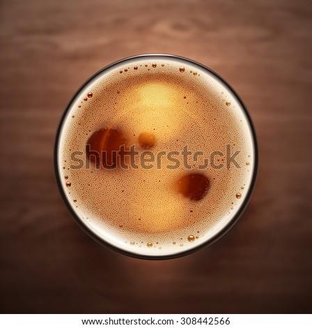 Glass beer, top view, eps 10 - stock vector