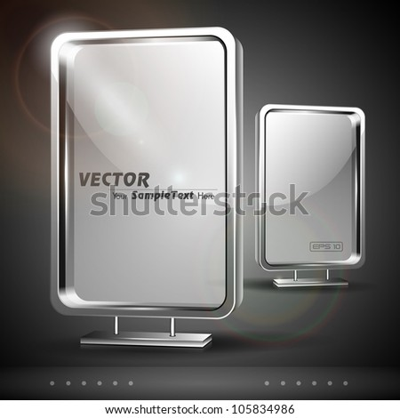 Glass billboard with stand, isolated on grey background. EPS 10. - stock vector
