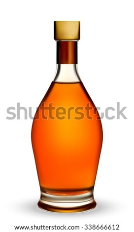 Glass Bottle for Cognac or Brandy - Illustration EPS-10 - stock vector