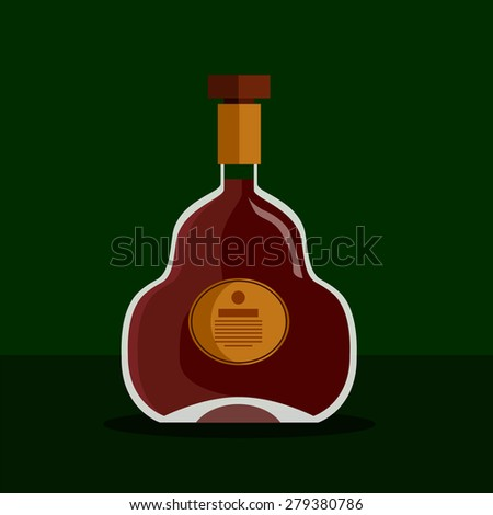 Glass bottle of alcohol drink, whiskey, bourbon, liquor, brandy, cognac with reflection, stock vector graphic illustration - stock vector
