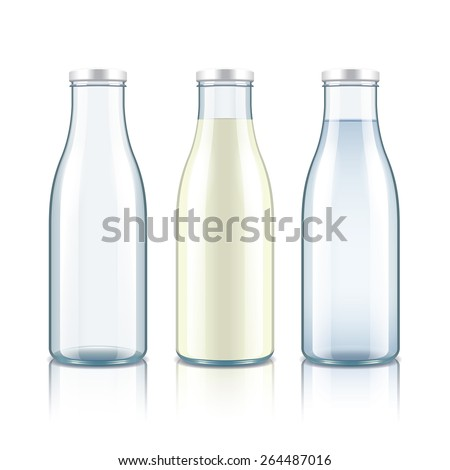 Glass bottle with milk, water and empty isolated on white photo-realistic vector illustration - stock vector