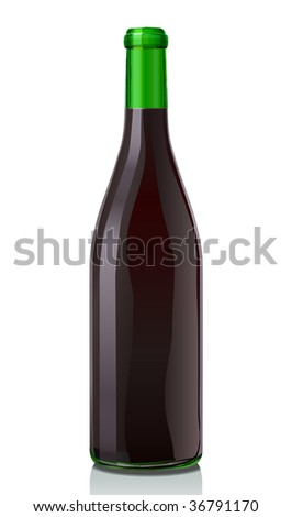 Glass bottle with red wine. Classic Burgundy style  Serie of images. You can find many various types of realistic vector illustrations of wine bottles in my portfolio.