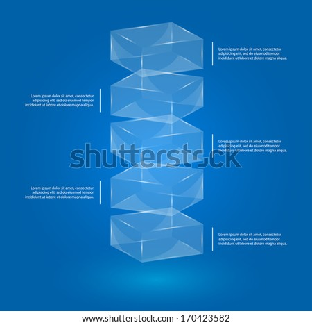 glass boxes infographic template for business presentation, vector eps 10 illustration - stock vector