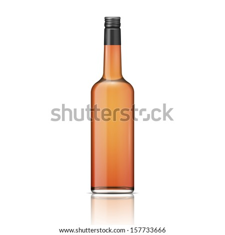 Glass brandy (bourbon, whiskey, cognac) bottle with screw cap, isolated on white background. Vector illustration. Glass bottle collection, item 2. - stock vector