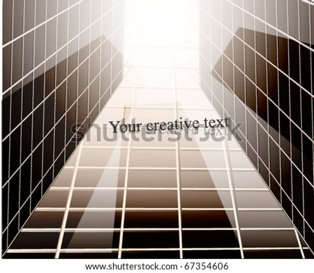 Glass building perspective. Vector Illustration. Retro background - stock vector