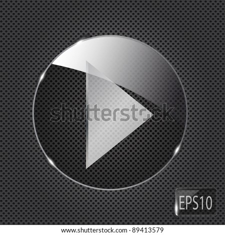Glass  button icon on metal background. Vector illustration - stock vector