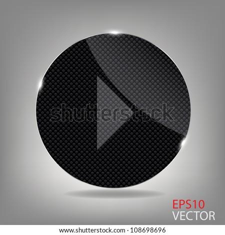Glass button media icon.  Vector illustration - stock vector