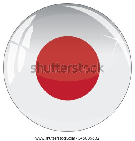 Glass button with national flag of Japan - stock vector