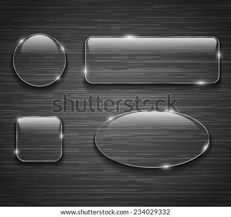 Glass buttons on brushed metallic background. Vector illustration - stock vector