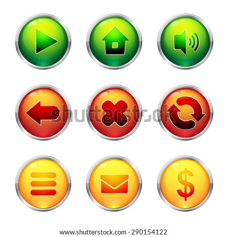Glass buttons set - stock vector