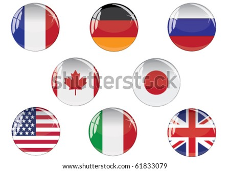 Glass buttons with G8 countries flags - stock vector
