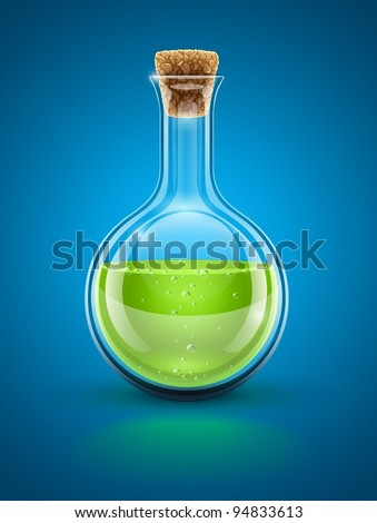 glass chemical flask with green toxic liquid and cork vector illustration EPS10. Transparent objects used for shadows and lights drawing - stock vector