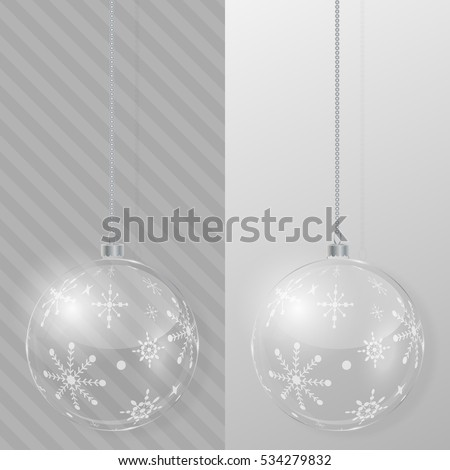 Glass Christmas ball. Design template. Vector illustration