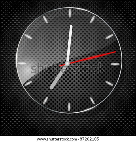 Glass clock on black background. Vector illustration. - stock vector