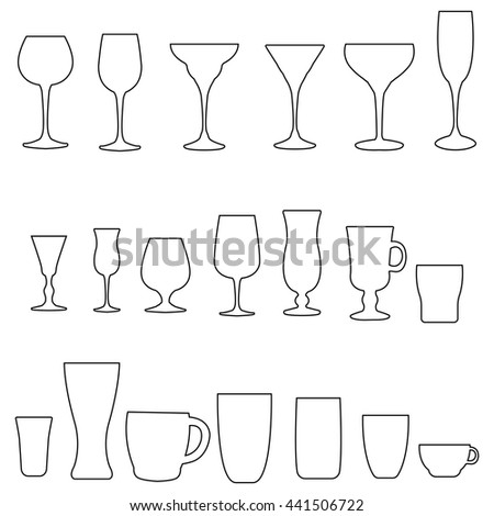 Glass collection. Cocktail glass contour. Vector set of monochrome glass.