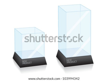 Glass cube for presenting new product - stock vector