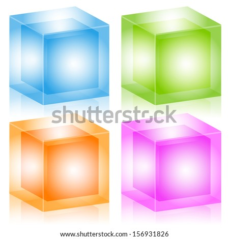 Glass cubes - Colorful glossy 3d cubes as modern design elements, abstract symbols. Suitable for geometry, graphic design, technology, energy, core, hosting concepts. EPS 10 vector illustration. - stock vector