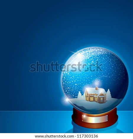 Glass Dome with Christmas Scene. Wooden House and Pine Forest on Winter Landscape. 3D Vector Illustration for your Christmas or New Years Greeting Card - stock vector