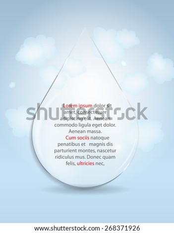 Glass Drop Frame on Abstract Background Vector Illustration EPS10 - stock vector