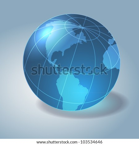 Glass earth - globe. Gray background. - stock vector