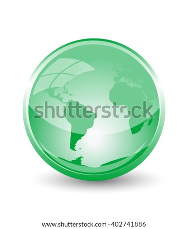 Glass earth in eco green colour, eps10 vector