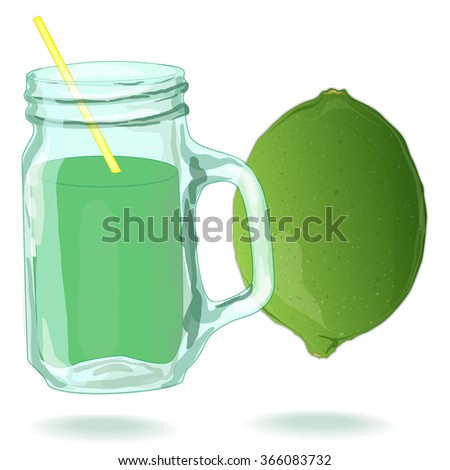 glass filled with fresh made lime juice. Fresh lime. Vector. - stock vector