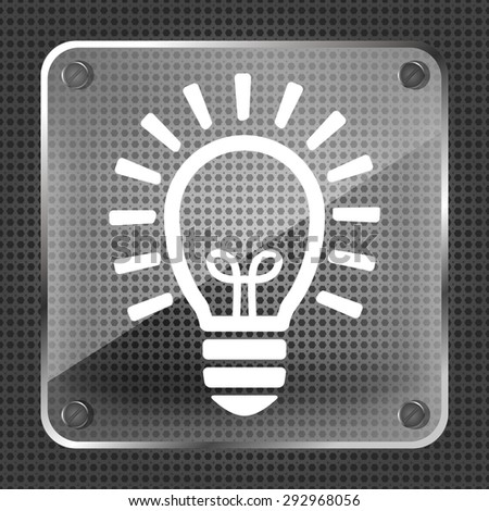 Glass flat lamp bulb icon on a metallic background - stock vector