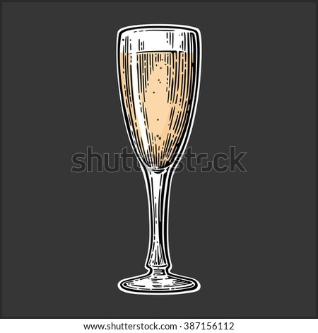 Glass for champagne. Vector engraved illustration isolated on dark vintage background.