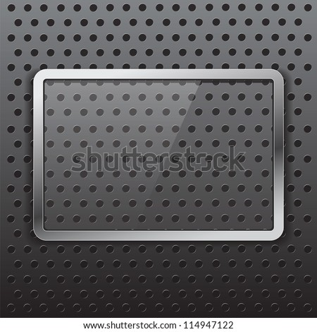 Glass frame with metal stroke - stock vector