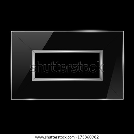 glass frame with silver trim on a black background - stock vector