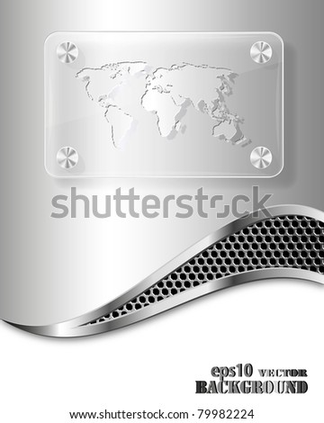 Glass frame with world map on metallic background. Abstract business concept.Vector eps10 illustration - stock vector