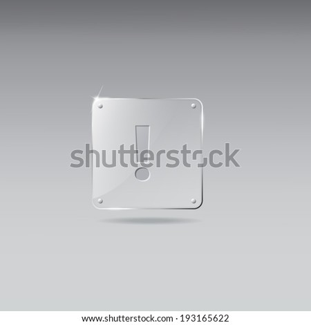 Glass framework with exclamation mark icon - stock vector
