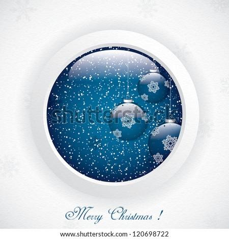 Glass globe with Christmas Scene.Vector - stock vector