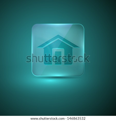 glass icon with home sign - stock vector