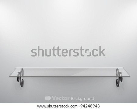 Glass isolated Empty shelf for exhibit. Vector illustration. - stock vector