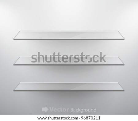 Glass isolated Empty shelves for exhibit. Vector illustration. - stock vector