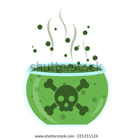 Glass jar with green poison. Transparent glass with green poison. Crossbones at the glass. Liquid bubbling. Isolated. White background.